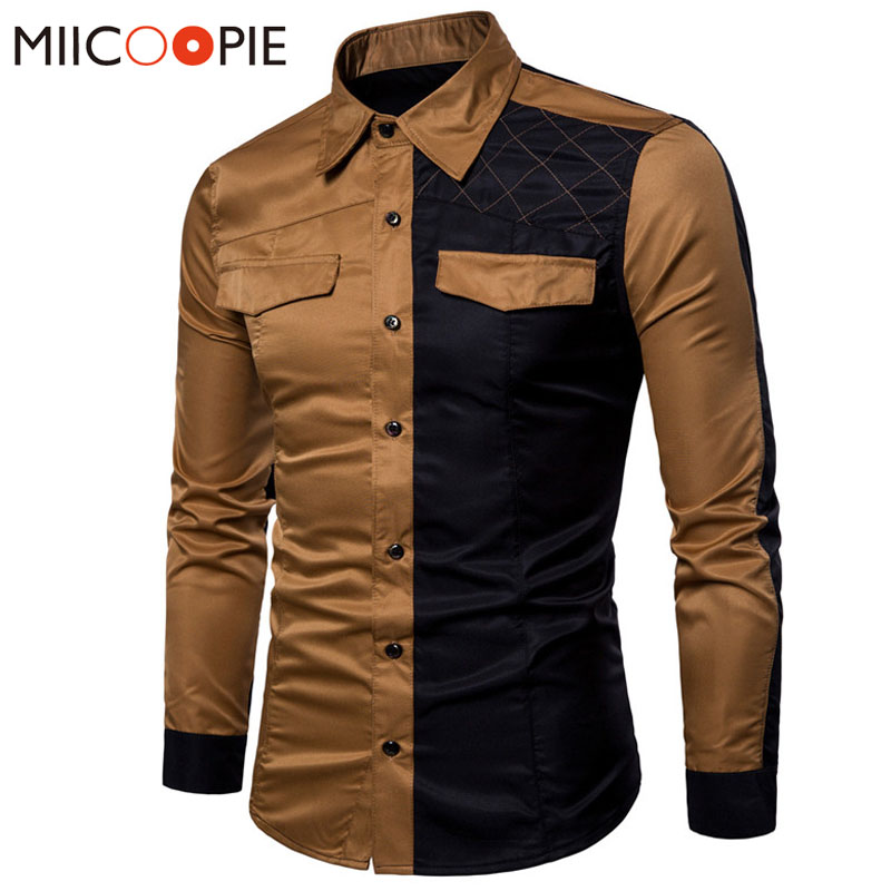 2018 Military Style Men Casual Shirts Spring Top Quality Cotton Patchwork Color Shirt Classic Breathable Brand Dress Shirts XXXL