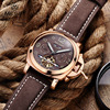 Free Shipping Megir Luminous Mechanical Watch Men Genuine Nubuck Leather Strap Waterproof Wristwatch Analog Display Watches