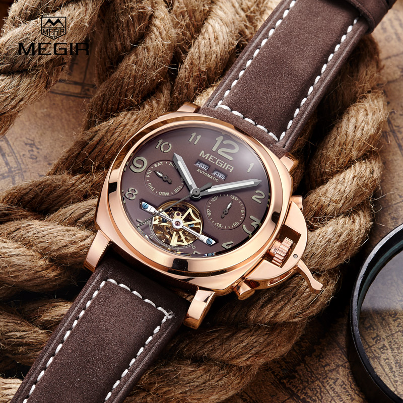 Free shipping Megir Luminous Mechanical Watch Men Genuine Nubuck Leather Strap Waterproof