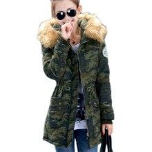 new 2016 women winter coat wadded jacket medium-long plus size 4XL Parka fur collar thickening hood abrigos female snow wear