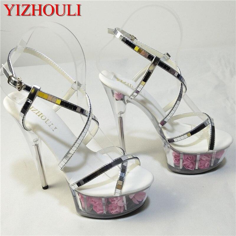 4274fdd681a6b مثير روز كريستال العروس أحذية الزفاف 15 سنتيمتر عالية الكعب الأحذية الإناث  الصنادل مثير 6 بوصة زهرة الكريستال أحذية