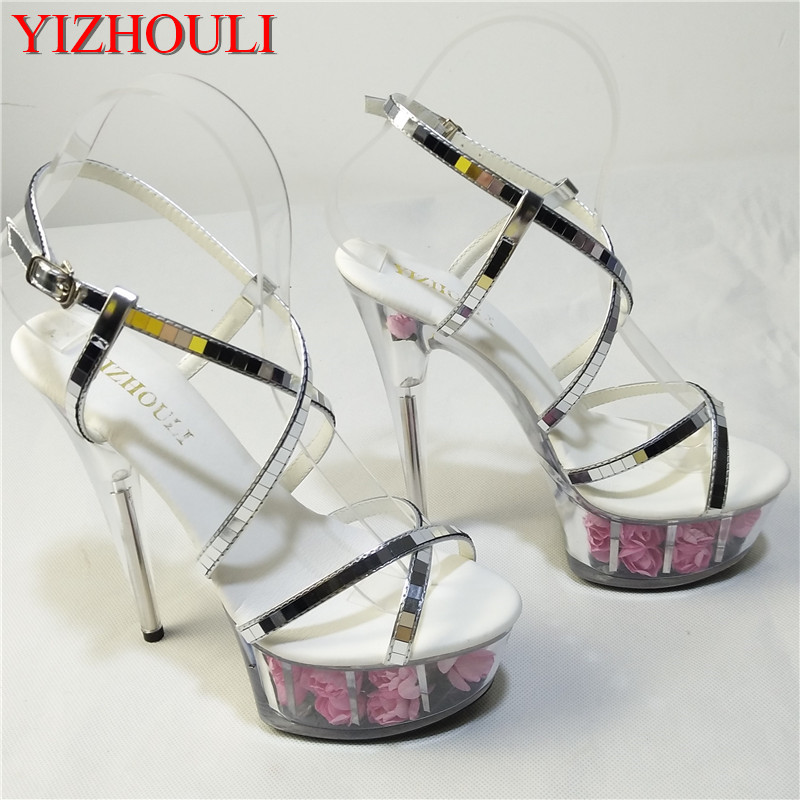 Sexy rose crystal bride wedding shoes 15cm high-heeled shoes female sandals sexy 6 inch flower crystal shoes bohemia crystal ваза jessye 23 см