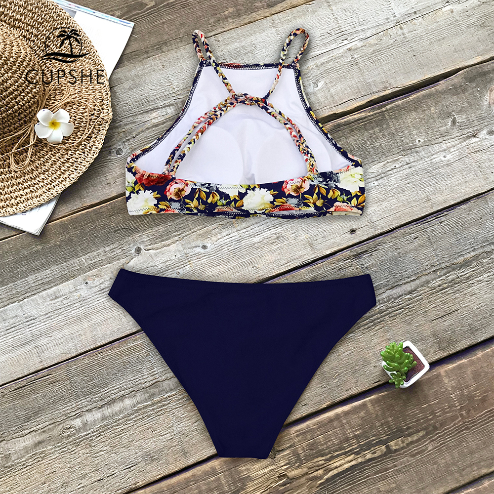 Image 2 - CUPSHE Floral And Navy Braided Strap Tank Bikini Sets Women High neck Two Pieces Swimsuits 2020 Girl Beach Boho Bathing SuitsBikini Set   -