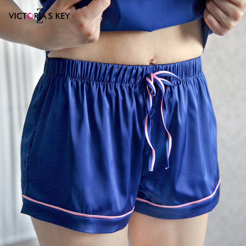 Image 3 - VICTORIA'S KEY Contrast Stripe Side Navy Cami Top Satin Shorts Suits Female Summer Home Clothes Women Pajama Set Sexy Sleepwear-in Pajama Sets from Underwear & Sleepwears