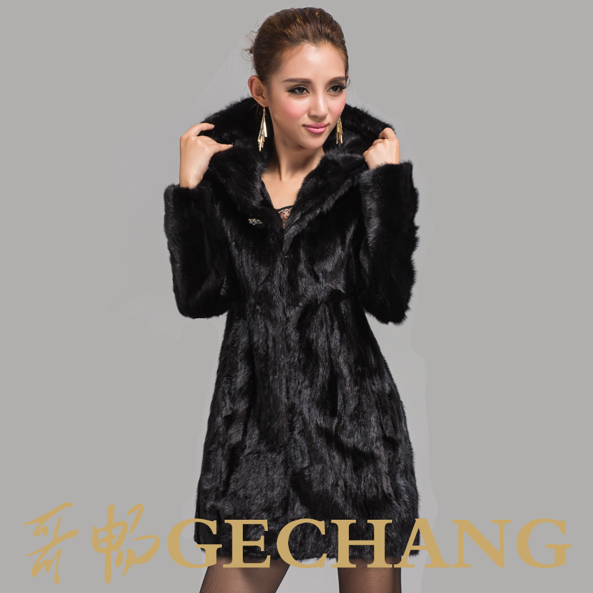 2016 overcoat fur mink Factory New Stylish Women&39s Long Black
