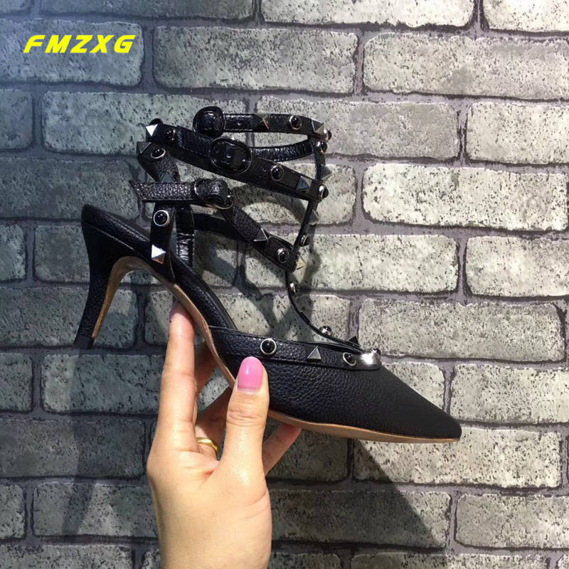FMZXG Women Sexy Rivet Heels High Sandals Designers Shoes Woman Luxury Brand 2018 Gladiator Lace Up Sandals Women Summer Sandals brown suede lace up summer sandals botas high brand gladiator sandals women shoes slingback sexy stiletto ankle strap sandalias