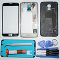 Мобильные Аксессуары и Запчасти для Samsung Galaxy S5 S V G900F полный Жилищно Ближний Рама и задняя и Передняя стекло и УФ клей