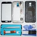 Accesorios y piezas del teléfono móvil para samsung galaxy s5 s v g900f Full Frame Carcasa Central y caja Trasera y Frontal de cristal y UV pegamento