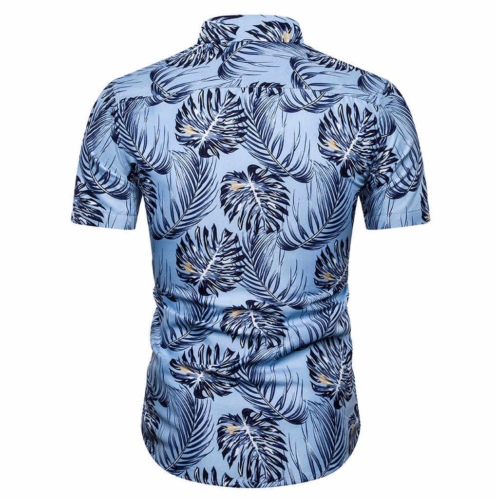 Mùa hè Hawaii Áo sơ mi nam Slim Rời áo sơ mi tay Ngắn Cổ Bẻ Áo Dạo Phố Camisa masculina