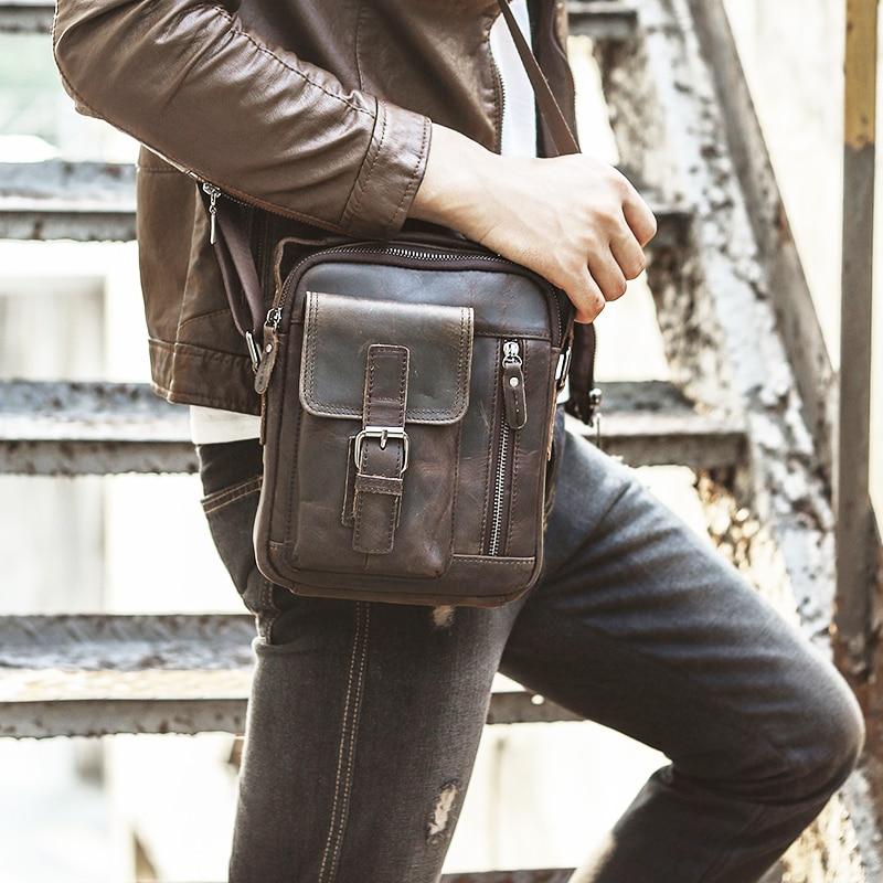 "Quality Original Leather Male Casual Shoulder Messenger bag Cowhide Fashion Cross-body Bag 8"" Pad Tote Mochila Satchel bag 2070"