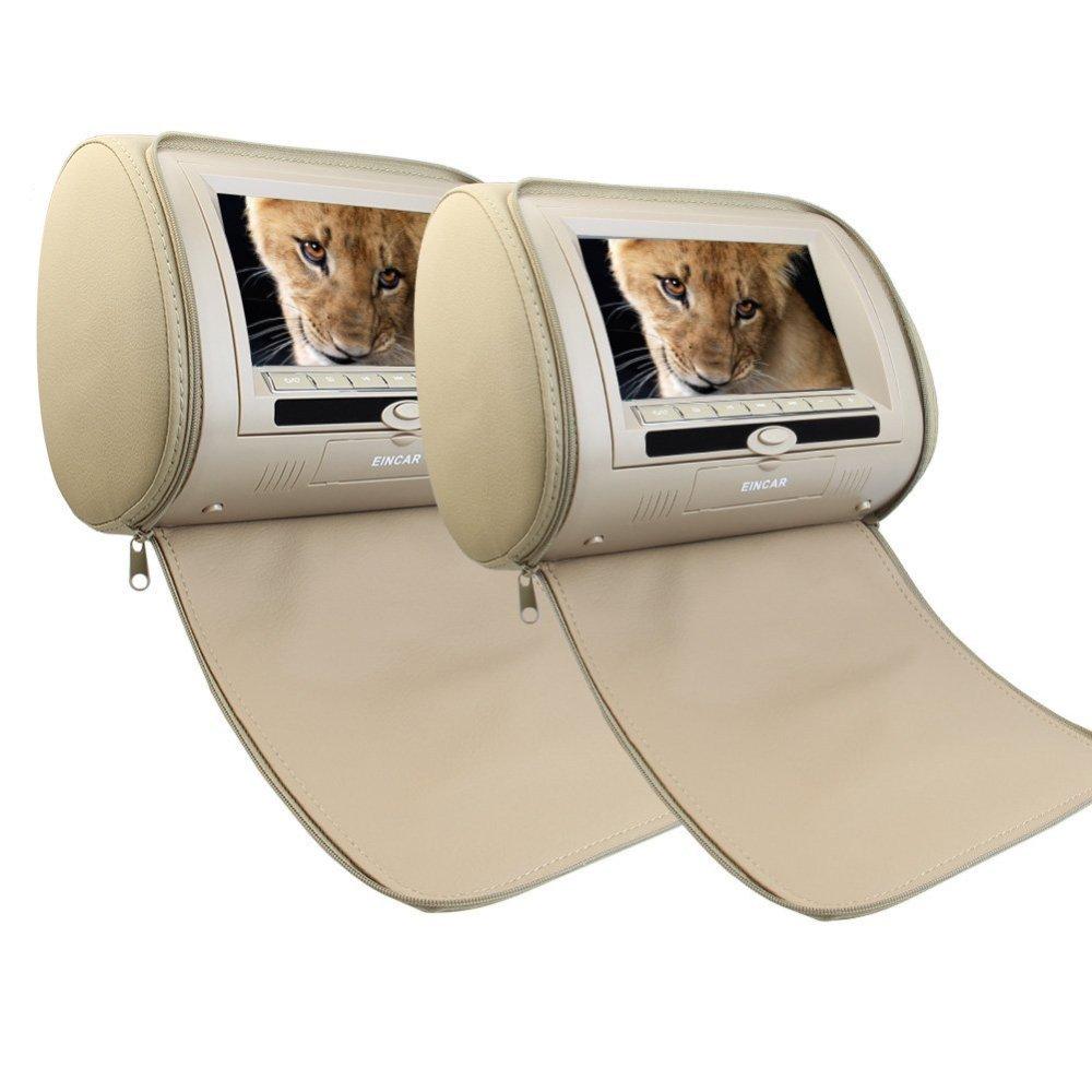 7 ''couleur Beige paire d'appuie-tête voiture oreiller moniteurs région lecteur DVD double double écrans USB SD IR FM transmetteur 32 bits jeux