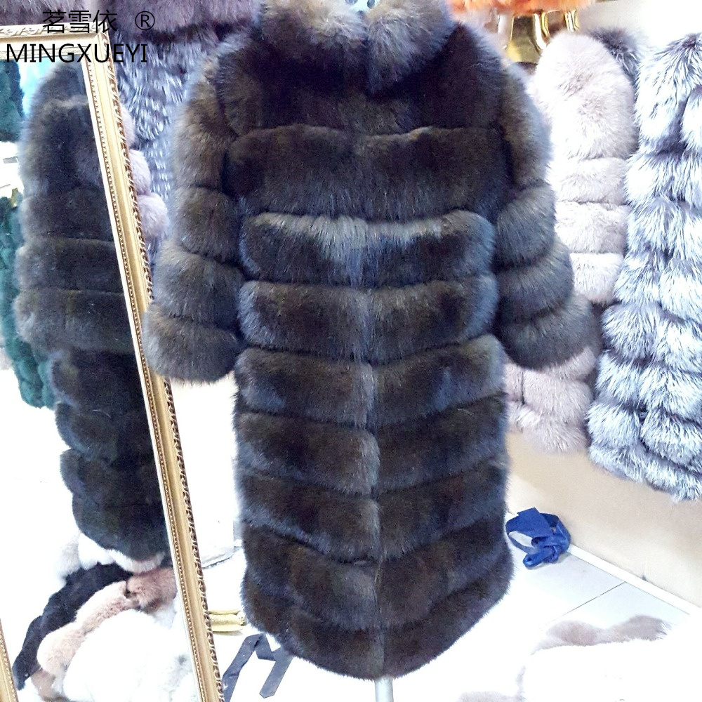 New Brand Winter Real Blue Fox Fur Coat Thick Warm Imitation Of Sables Women's Light Brown Long Jacket The fox fur Coat(China)