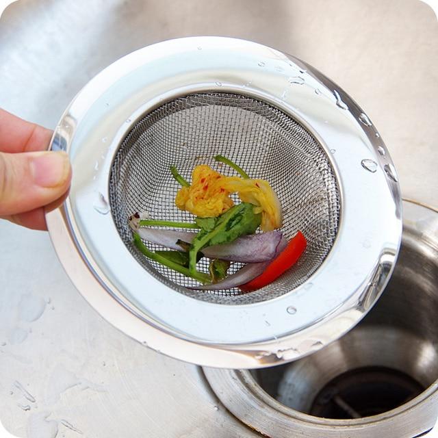 Round Stainless Steel Kitchen Sink mesh Strainer bathroom separated ...