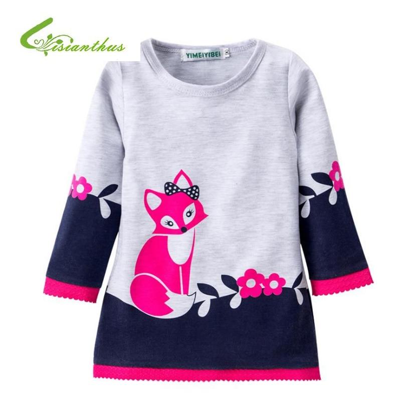 Girls Dresses Long Sleeve Autumn Kids Dress for Girls Clothes Infant Cartoon Fox Animal Appliques Princess Costumes Children