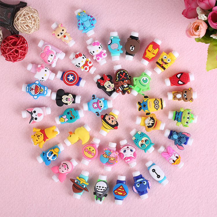 10pcs/lot Cartoon Cable Protector For Iphone Charging Cable Saver Cartoon Colorful Silicone USB Cables Protect Winder