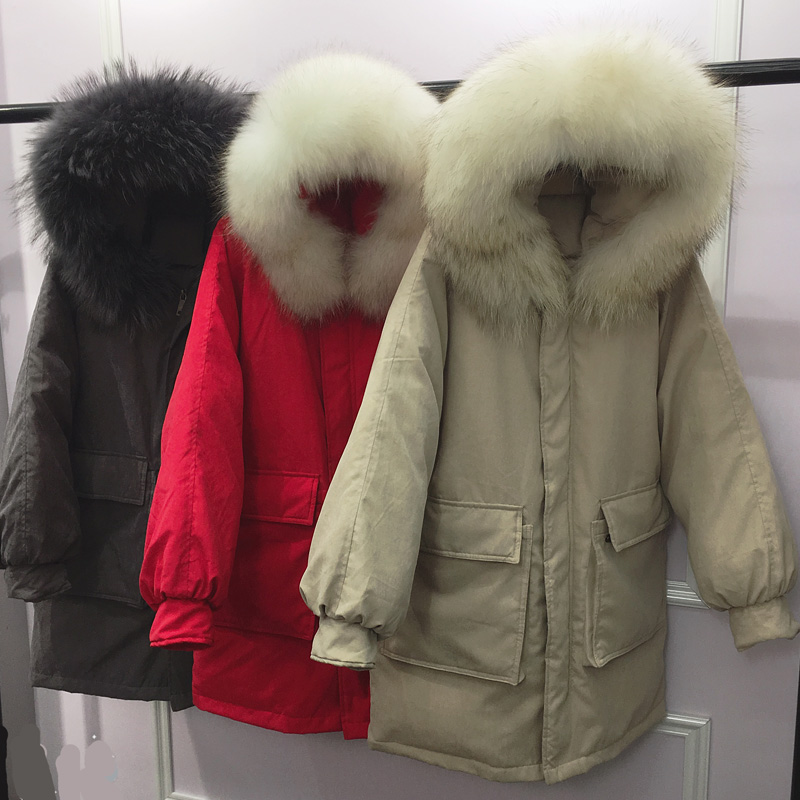 Femelle Bas Laveur Fur Black White Brown Coat Capuche D'hiver Veste Canard Fourrure Long De Manteau Grand Le Femmes Fur black Fur Red Lâche 2018 Réel Vers Fur purpl Fur Down Blanc Duvet Parkas grey blue À beige Chaud Fur red Fur Raton FpwgIxUAq