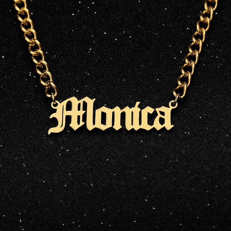 Personalized Gold Chain Gargantilha Bijoux Femme Old English Name Necklaces Maxi Colar For Women Bridesmaid Gift Custom Jewelry