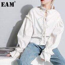 [EAM] 2020 חדש אביב Stnad צווארון ארוך שרוול מוצק צבע בז Loose לוטוס קצה פיצול משותף חולצה נשים אופנה גאות JC87500S