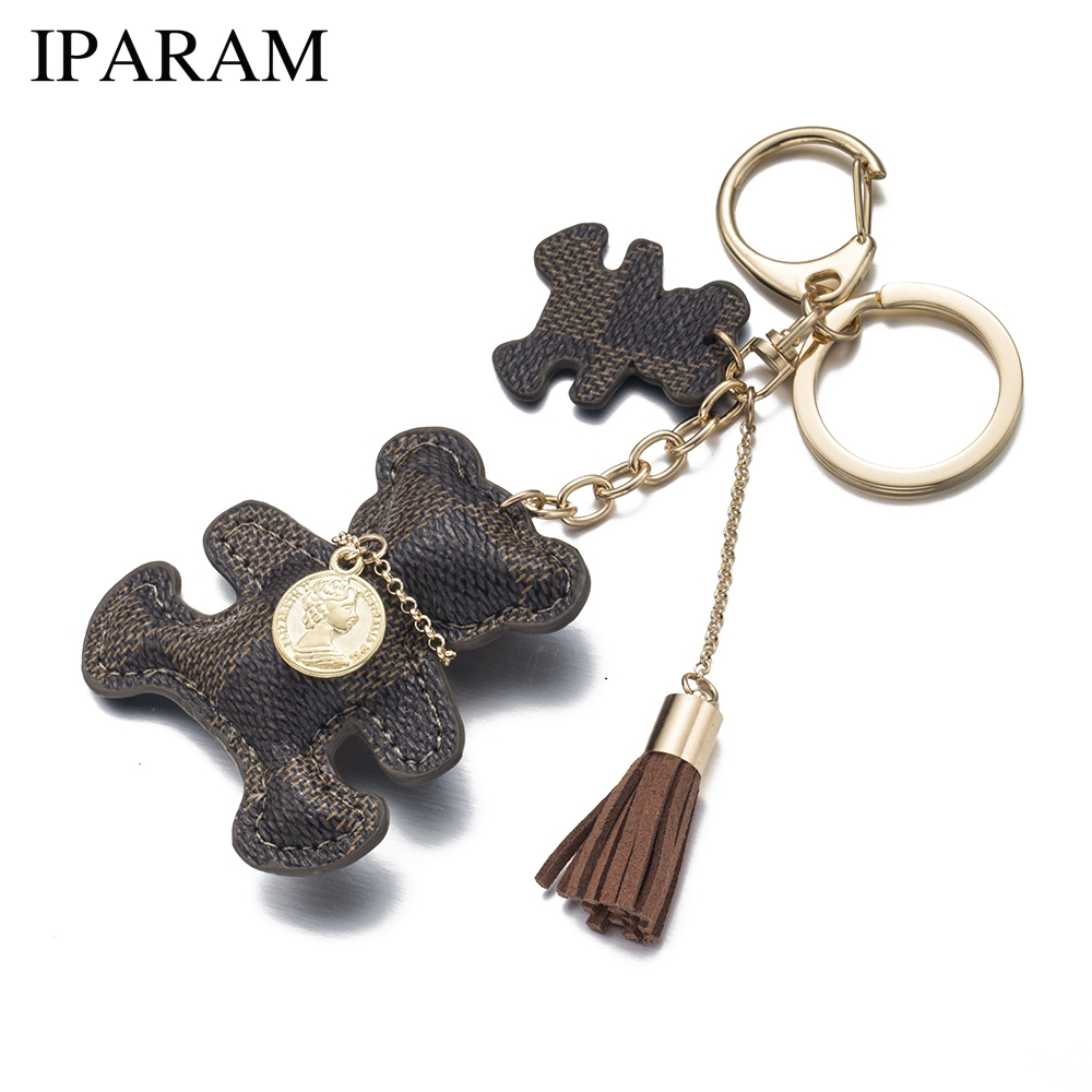 IPARAM New Fashion PU Leather Bear Key Chain Tassel Key Ring Car Bag Keychain For Women Jewelry Accessories Gift цены онлайн