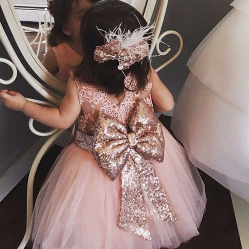 Baby Girls Kids Wedding Dress Flower Girl Dress Princess Party Pageant Formal Dress Back Bow Sleeveless Lace Tulle Dress 0-10Y