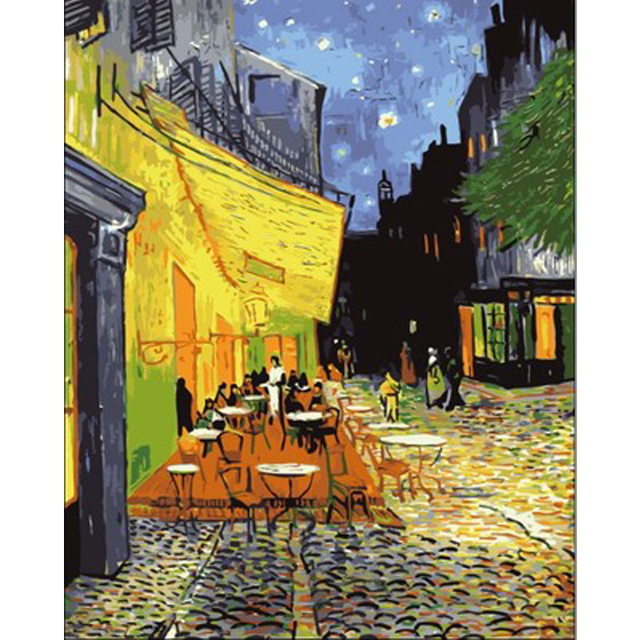 HAOCHU Europe The Cafe Around the Corner Oil Painting DIY Coloring ...