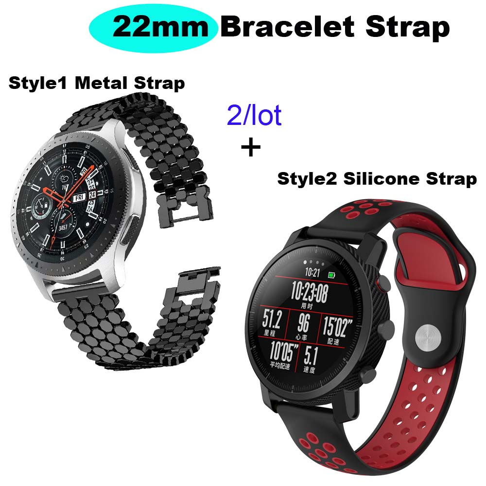 22mm Bracelet Strap For Xiaomi Amazfit GTR 47mm Pace Stratos WatchStrap For Samsung Gear S3 Galaxy 46mm WatchBand For Huawei Gt