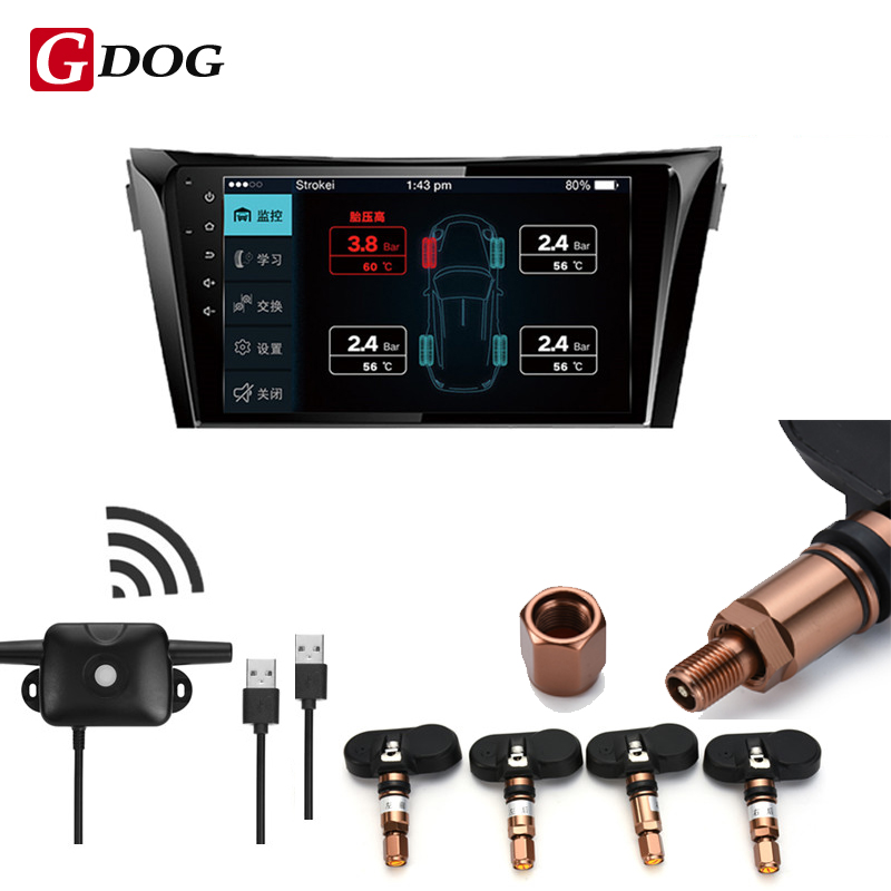 Car TPMS Tire Pressure Monitoring System for Android OS DVD Player USB Interface suit for Renault Peugeot Toyota and All Cars car tpms bluetooth tire pressure monitoring system app display support android and apple systems for peugeot toyota and all cars