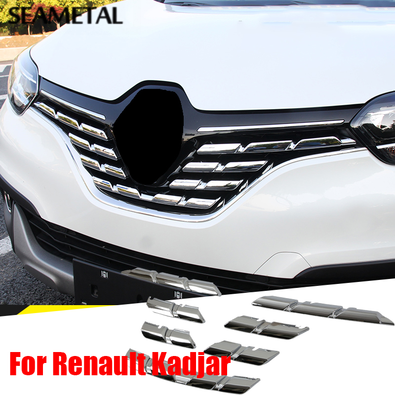 For Renault Kadjar 2016 2017 ABS Chrome Trim Chromium Styling Car Front Grill Grid Covers Exterior