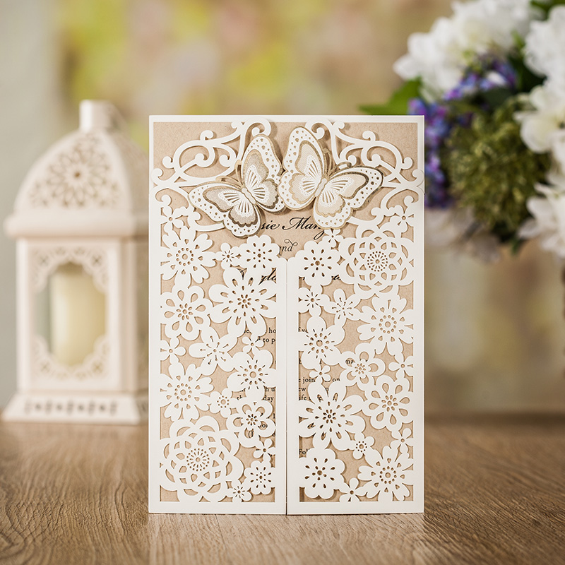 Wishmade White Laser Cut Wedding Invitations Card With Gold Butterfly Hollow Flora Design for Bridal Shower