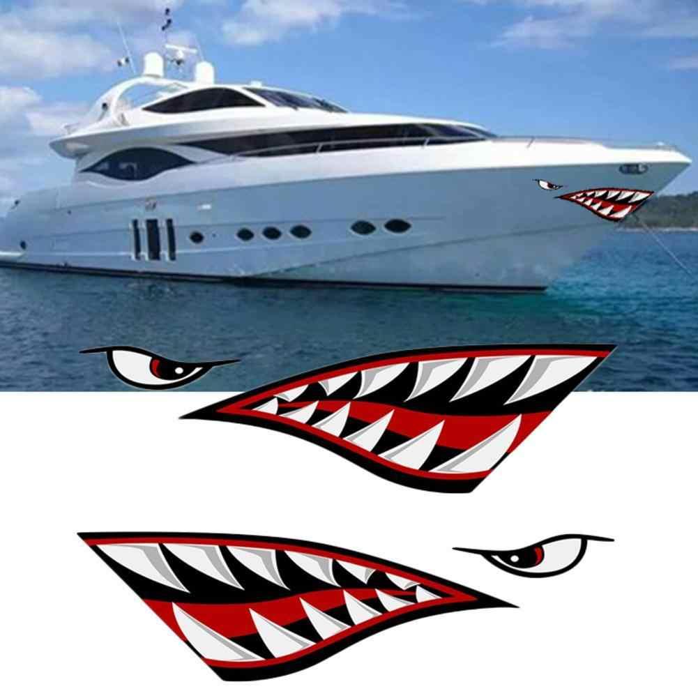 15x5 polegada Carro Adesivos De Pesca lemon Dentes da Boca de Tubarão Adesivo Reflexivo Decalques Barco Canoa Caminhão Para O Lado Do Carro porta Estilo Do Carro