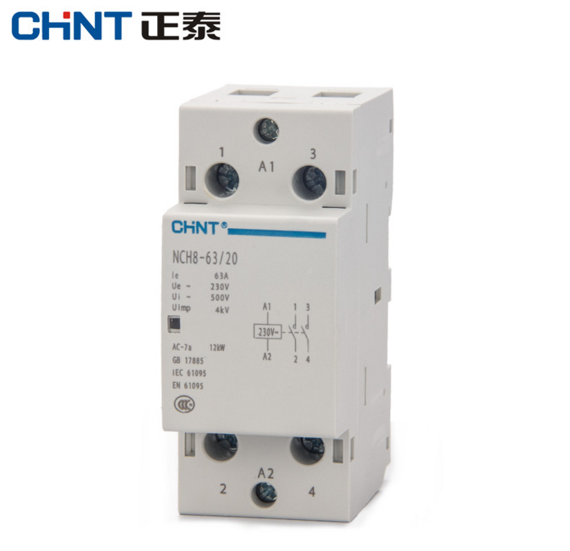 CHNT CHINT NCH8-63 Modular AC household Contactor 220V 230V AC 50/60HZ 63A 1NO 1NC 2NO 2NC 220v 50 60hz coil voltage 3p 2no 1nc changeover capacitor ac contactor cj19 63