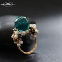 GLSEEVO Оригинальное натуральное пресноводное кольцо в стиле барокко с жемчугом для женщин подарок на помолвку роскошные кольца с глазурью юв...
