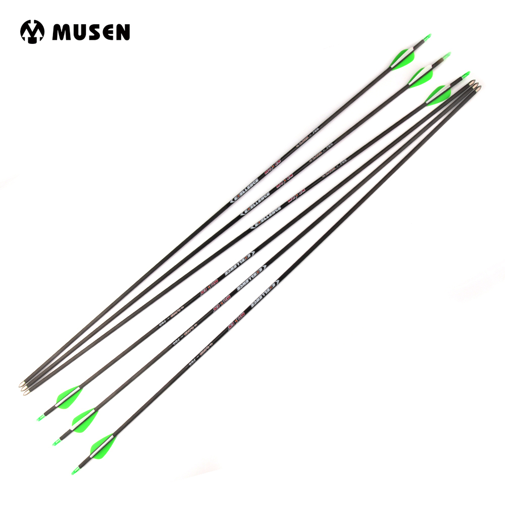 6/12/24 pcs Pure Carbon Arrow Length 30 Inches Spine 700 Diameter 5.6 mm for Compound/Recurve Bow Archery Hunting 12 archery carbon arrow spine300 340 400 500 600 fluorescent yellow shaft compound bow shoot id6 2mm protect ring nock