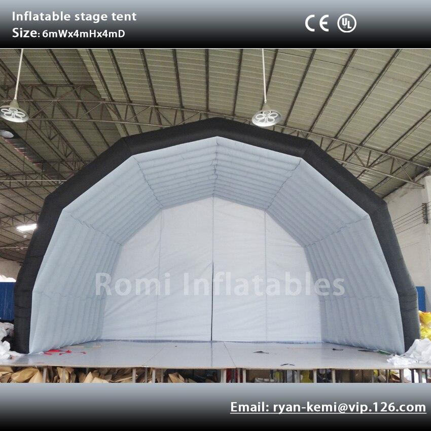 Envío Gratis 6x4 m tienda inflable de escenario cubierta de exposición inflable pantalla inflable marquesina para eventos de concierto de música al aire libre