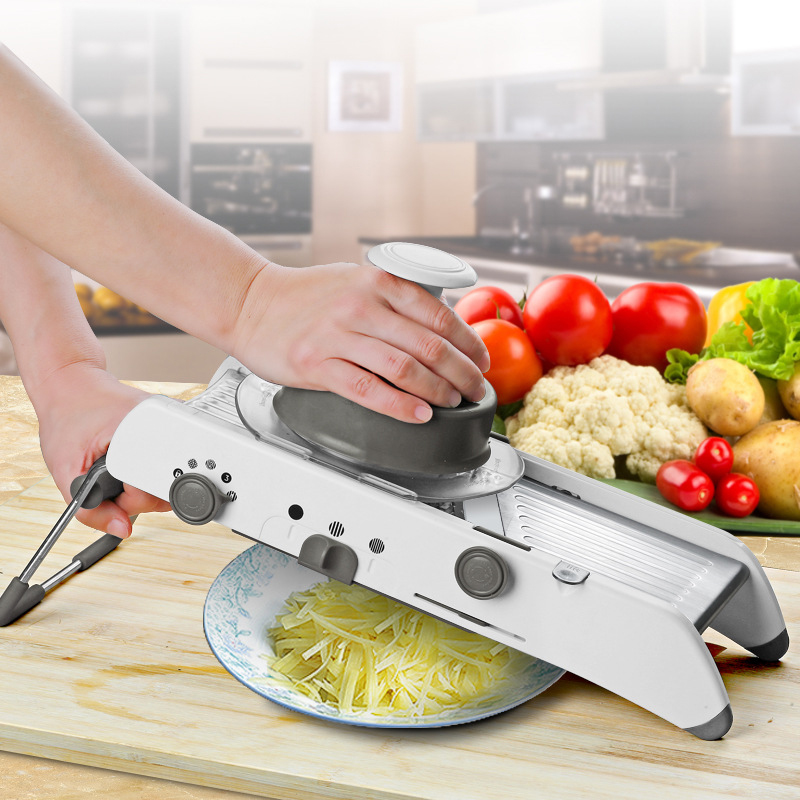 Ev ve Bahçe'ten Öğütücüler ve Diliciler'de Ayarlanabilir Çok fonksiyonlu Paslanmaz Çelik Doğrama Doğrama Patates Dilimleme Rende Dilimleme Mutfak Mendil Ezici Sebze Aracı'da  Grup 1