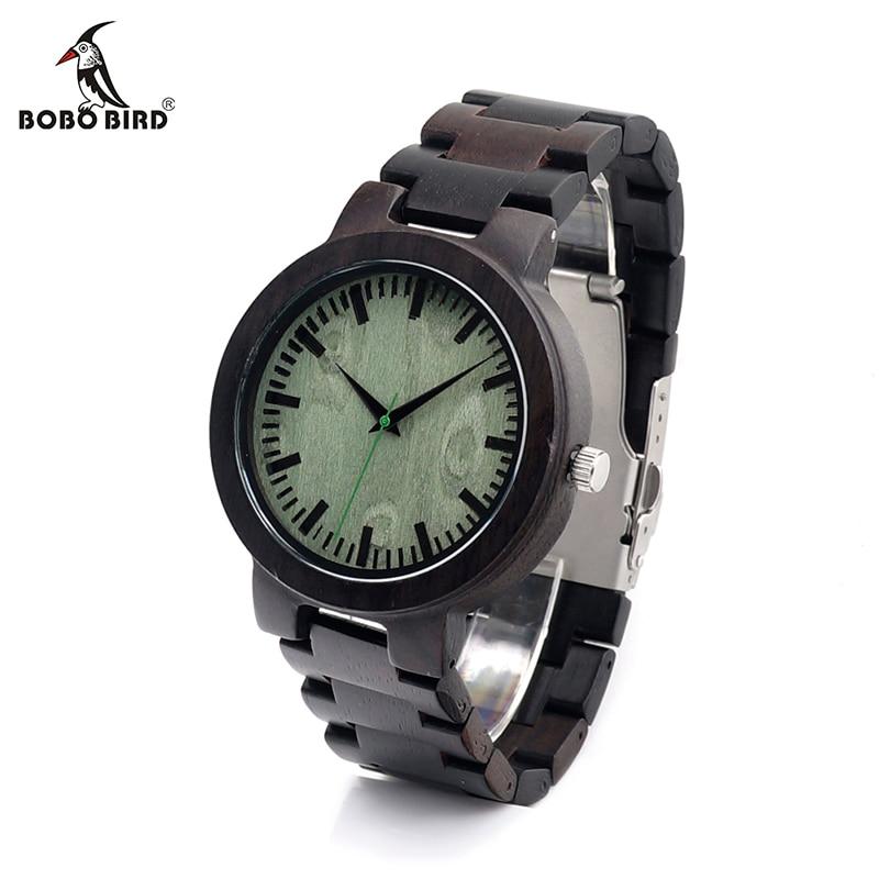 BOBO BIRD V-C29 Handmade Ebony Wooden Mens Quartz-Watch Classic Folding Clasp Wood Wristwatch in Gift Box reloj hombre 2016