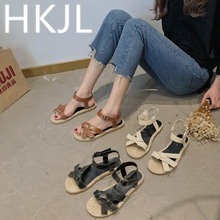 HKJL 2019 New fashionable belt buckle, bow knot, straw knitted hemp rope sole with Roman sandals in spring and summer A452
