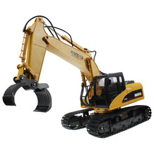 2016 High quality Rechargeable Sound and Light Demo Remote Control Engineer Truck 16 Channel 2.4G RC Alloy Timber Grab Excavator