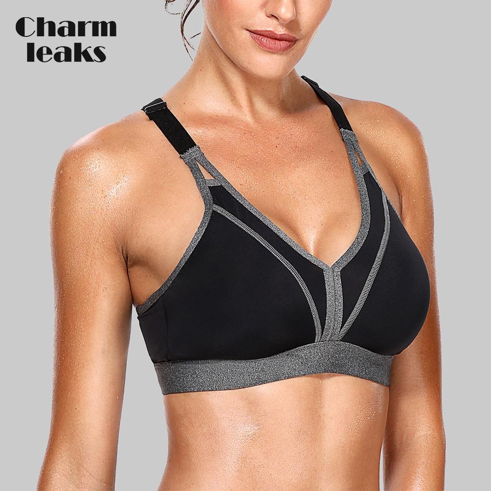 Charmleaks Women Sports Bra High Impact Support Backcross Yoga Bra Running Workout Bra Underwear Professional Fitness Sports Top