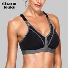 Charmleaks Women Sports Bra High Impact Support Backcross Yoga Running Workout Underwear Professional Fitness Top