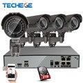 PoE NVR 4CH H.265 4 K 48 V Real 2048*1536 2.8-12mm zoom lens 4.0MP Cámara IP POE Sistema P2P Nube cctv sistema de visión Nocturna
