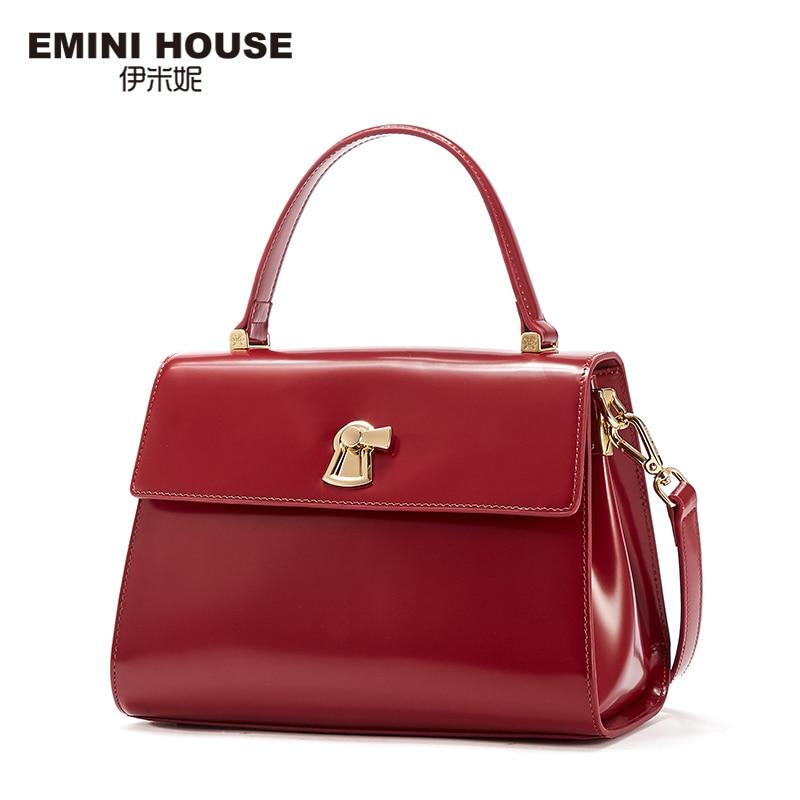 купить EMINI HOUSE Genuine Leather Handbag Flap Bag Women Messenger Bags Luxury Handbags Women Bags Designer Shoulder Bag по цене 6327.48 рублей