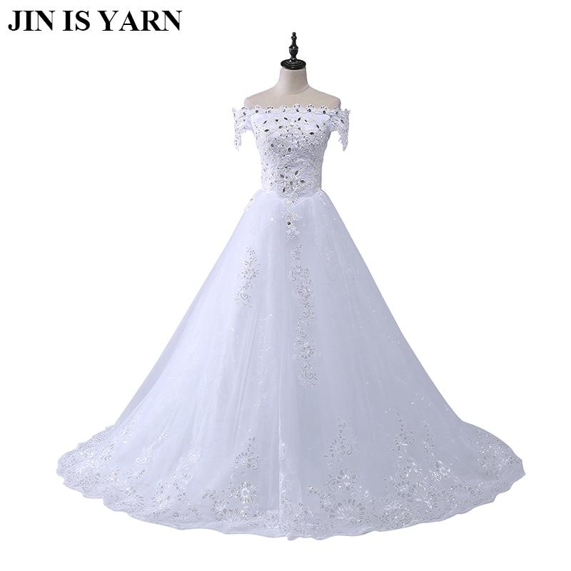 Wedding dress 2018 winter new European word shoulder retro lace high end bride Slim satin large size wedding dress-in Wedding Dresses from Weddings & Events    1