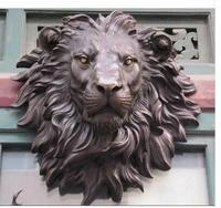 Art Bronze Decoration Crafts Brass Copper The huge Lion head flat bronze sculpture statue The art hanging wall H 18.1