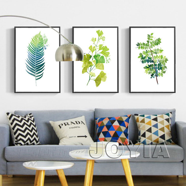 Leaf print wall decor green botanical leaves art prints minimalist printable canvas painting home interior decoration