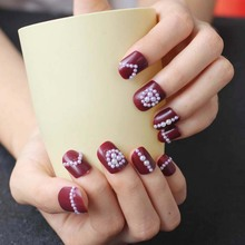 24PCS H ot new design beautiful delicate round Hand made candy fake nails pearl W20