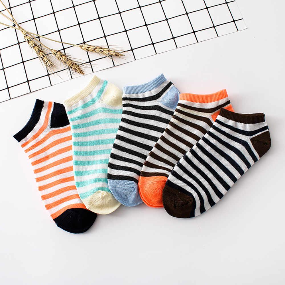 Calcetines de algodón a la moda para mujer, 1 par de calcetines Harajuku cómodos de algodón a rayas, zapatillas, calcetines tobilleros cortos Harajuku-50