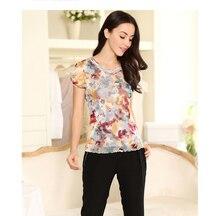 high quality 100% silk female round neck short sleeve shirts high brand designer mesh silk double gauze blouses-b150