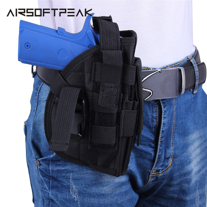 600d Military Airsoft Tactical Universal Gun Holster Molle Modular Pistol Holster Right Hand Outdoor Hunting Waist Belt Bags Removing Obstruction