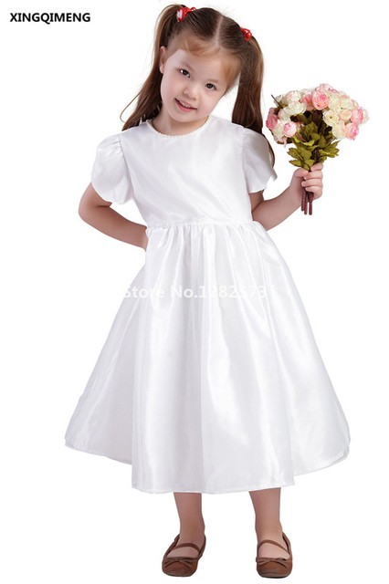 Cheap Simple White Flower Girl Dresses Beaded First Holy Communion